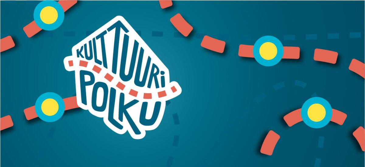 Kulttuuripolku logo sinisellä taustalla ja oransseilla katkoviivoilla, jotka luovat polun