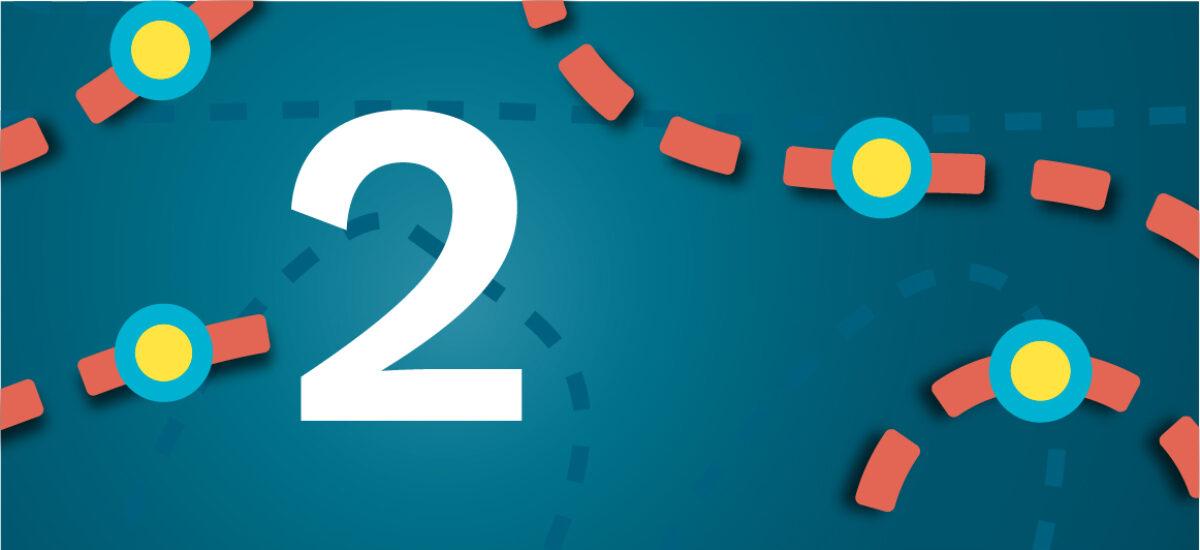 Numero 2 sinisellä taustalla ja oransseilla katkoviivoilla, jotka luovat polun