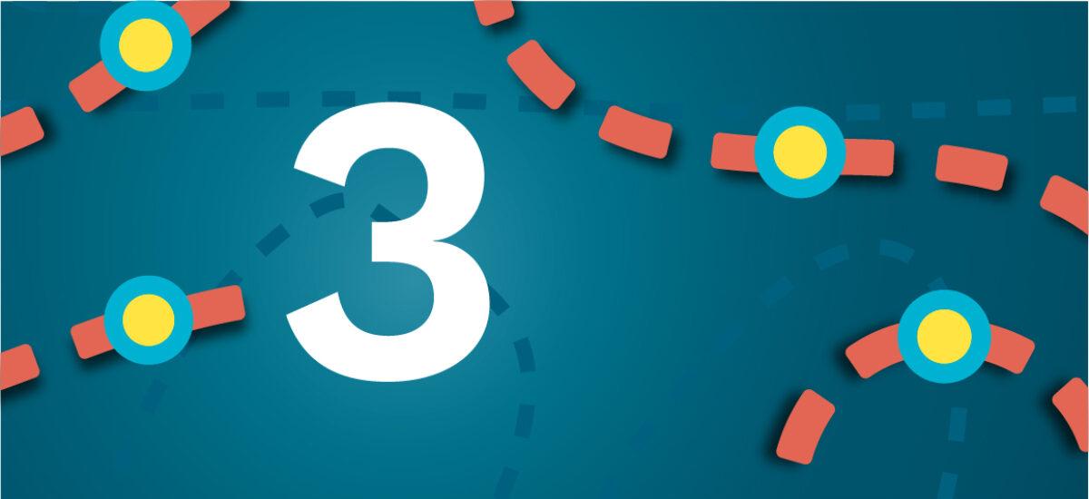 Numero 3 sinisellä taustalla ja oransseilla katkoviivoilla, jotka luovat polun