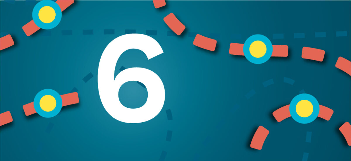 Numero 6 sinisellä taustalla ja oransseilla katkoviivoilla, jotka luovat polun