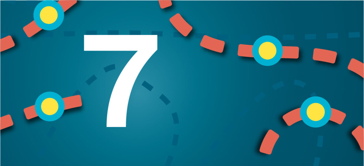 Numero 7 sinisellä taustalla ja oransseilla katkoviivoilla, jotka luovat polun