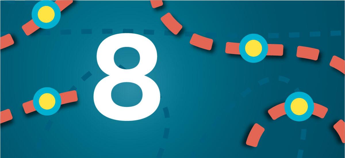 Numero 8 sinisellä taustalla ja oransseilla katkoviivoilla, jotka luovat polun