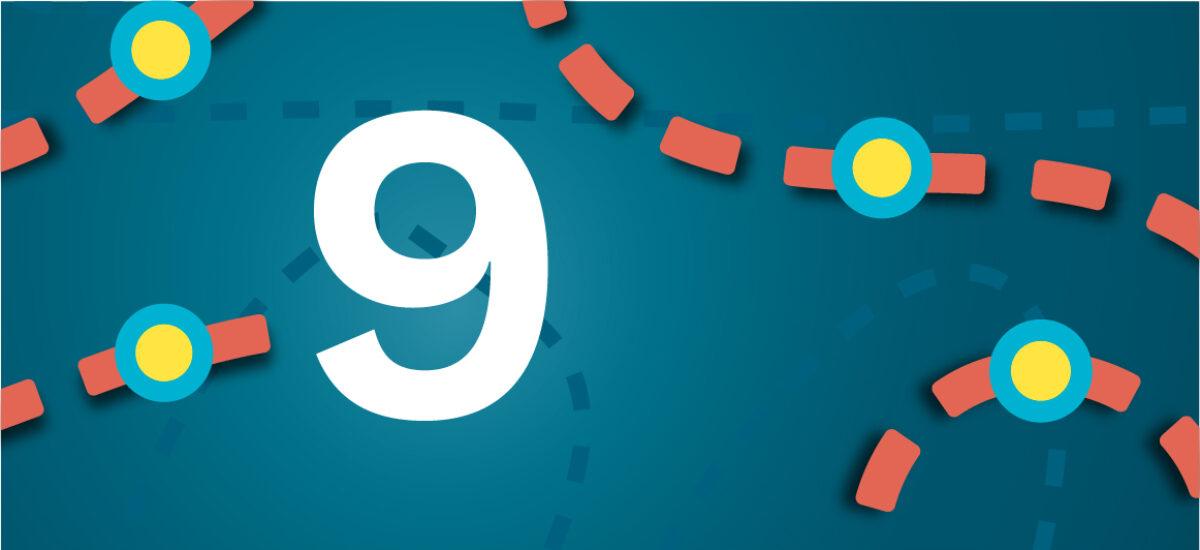Numero 9 sinisellä taustalla ja oransseilla katkoviivoilla, jotka luovat polun