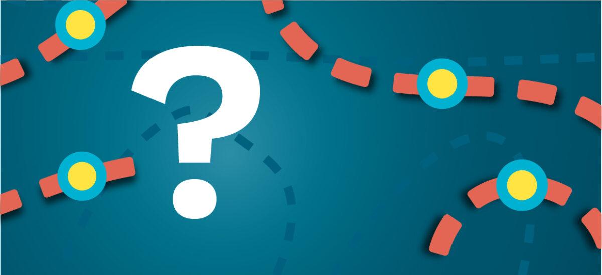 Kysymysmerkki sinisellä taustalla ja oransseilla katkoviivoilla, jotka luovat polun