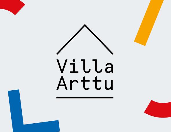 Suorakaiteen muotoinen vaalean harmaa laatikko, jossa laatikon oikeassa reunassa eri värisiä muotoja ja Villa Artun logo.