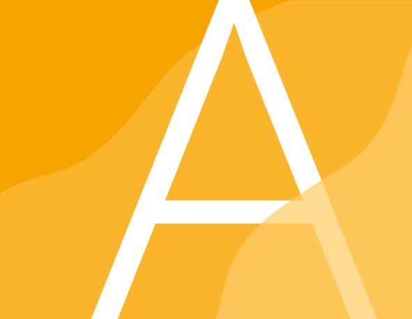 Suorakaiteen muotoinen laatikko, jossa kolmella eri keltaisen sävyllä aaltoilevaa muotoa sekä iso, koko laatikon korkuinen A-kirjain osittain yhden aallon takana.