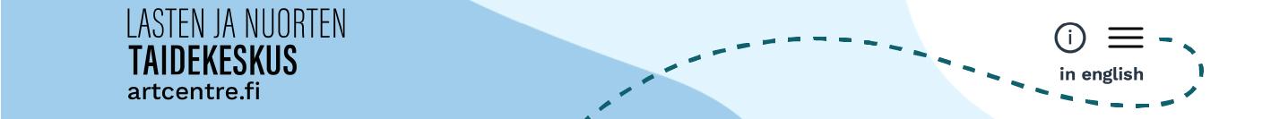 Ruutukaappaus sivuston yläreunasta, jossa vasemmalla taidekeskuksen logo ja oikealla infonappi, hampurilaisvalikko ja kielivalinta. Katkoviiva osoittee hampurilaisvalikkoa