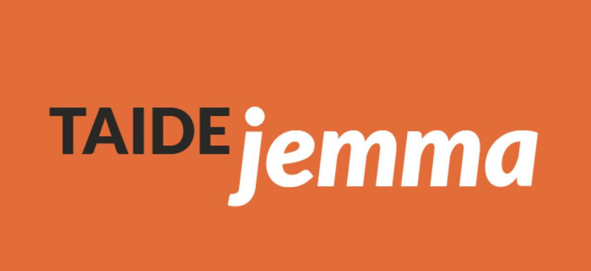 Taide Jemma-logo oranssilla pohjalla.